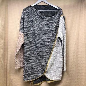 TOV Asymmetrical Zipper Color Block Tunic Sweater